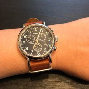 Timex leather and navy watch